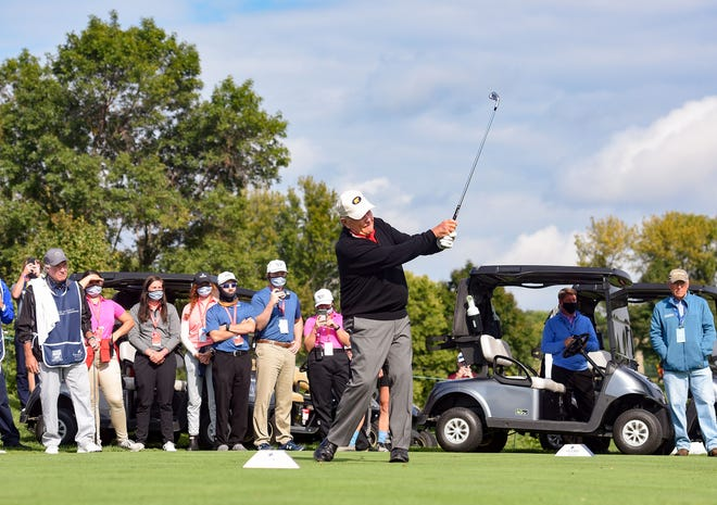 Jack Nicklaus plays in the EMC Legends Series at the Sanford International on Saturday, September 12, At the Minnehaha Country Club in Sioux Falls.
