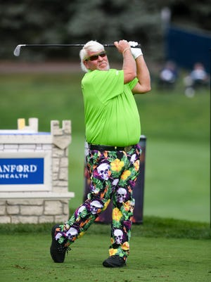 John Daly tees off at hole 10 during the second day of the Sanford International on Saturday, September 12, At the Minnehaha Country Club in Sioux Falls.
