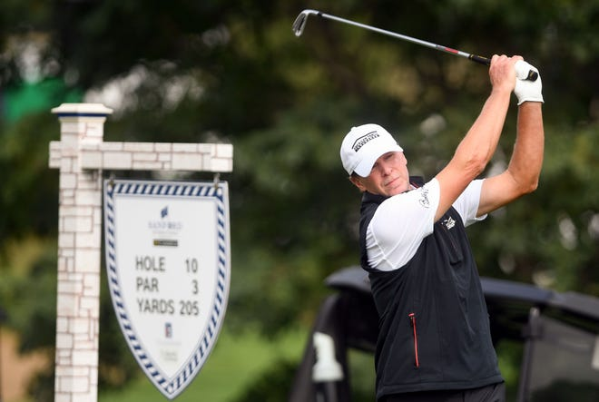 Steve Stricker tees off during the Sanford International on Saturday, September 12, At the Minnehaha Country Club in Sioux Falls.