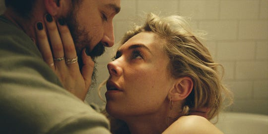 "Shia LaBeouf and Vanessa Kirby play a married couple who have to deal with a tragic home birth in the family drama ""Pieces of a Woman."""