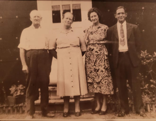 A prized photo for Laurie Hubbard Crosby is this picture of both sets of her grandparents: Jesse and Josie Tanner, and Annie and Thomas Hubbard.