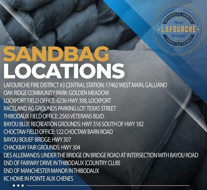 Sandbag locations in Lafourche