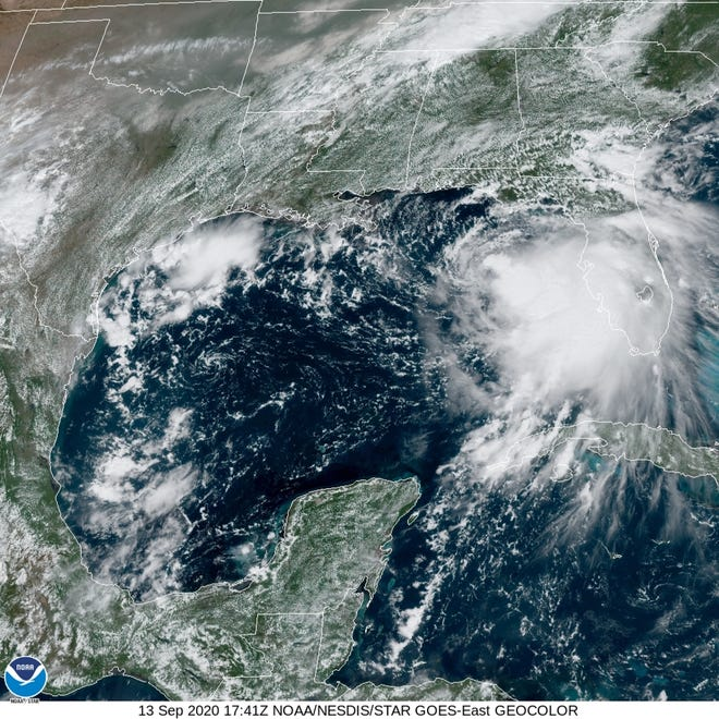Satellite image of Tropical Storm Sally