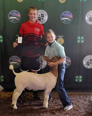 Lucas Dudte holds the plaque for Cooper Wolf, who showed the champion overall meat market goat, the Wayne County born and raised market meat goat and the meat breeding goat showmanship ages 8 and 9 year old award on Sunday during the Junior Fair Goat Show at the Wayne County Fair.