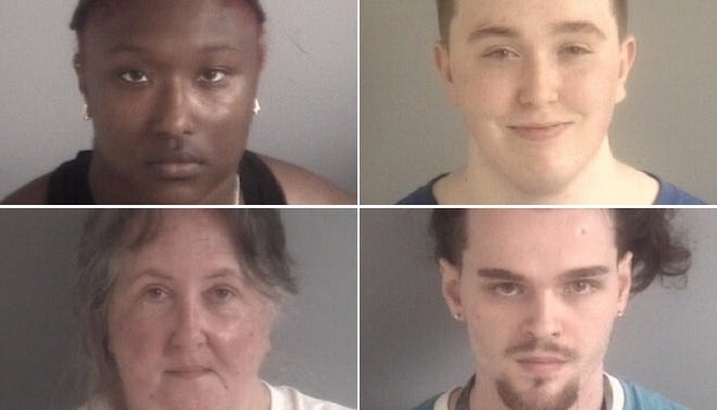 Four people were arrested at a parade in support of Donald Trump on Saturday, Sept. 12. Top: Tamia Danielle Lanier (left) and Korbyn Duncan (right). Bottom: Rhonda Denise Duncan (left) and Thomas Patrick Yocum (right).