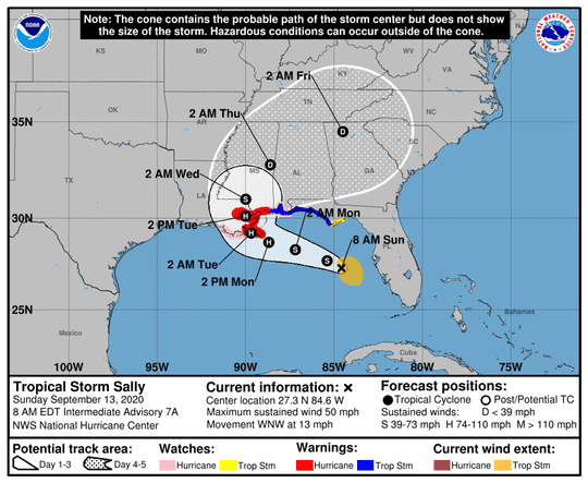 Tropical Storm Sally's forecast track as of Sunday morning, Sept. 13.