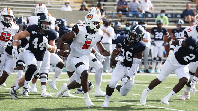 Campbell quarterback Hajj-Malik Williams (6) runs the ball during a game at Georgia Southern on Saturday, Sept. 12, 2020.
