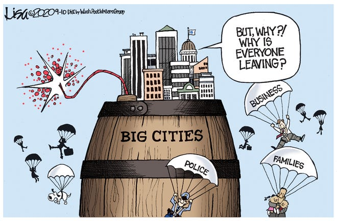 Monday Editorail Cartoon: Why is everyone fleeing the cities?