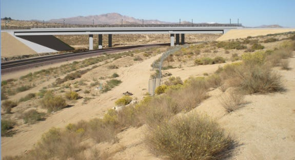 A depiction of the planned Green Tree Boulevard extension. Once constructed, it will span the railroad tracks in Victorville while connecting Hesperia Road to Yates Road near the entrance to Mojave Narrows Regional Park.