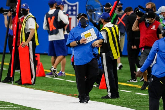 Detroit Lions head coach Matt Patricia watches a replay as he walks down the sideline during the second half of the season opener against the Chicago Bears at Ford Field in Detroit, Sunday, Sept. 13, 2020.