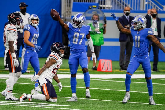 Detroit Lions catcher Quintez Cephus (87) celebrates the game against the Chicago Bears in the second half of Ford Stadium on Sunday, September 13, 2020.