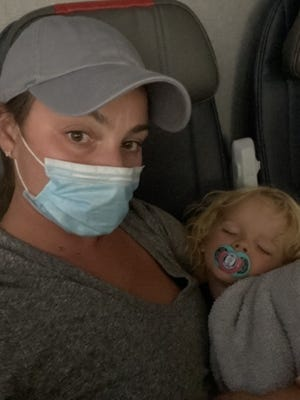 Jodi Degyansky and her son, Hayes Jarboe, were escorted off of a Southwest Airlines flight at RSW because the 2-year-old was not wearing his mask in order to eat some snacks, she said.