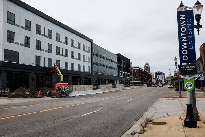 Work continues on the 600 block of East Michigan Avenue which includes a Meijer, lofts, and a hotel set to open in 2021 Saturday, Sept. 12, 2020.
