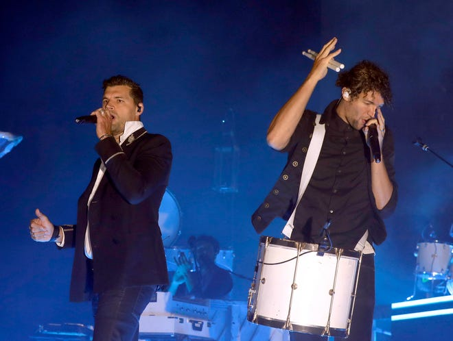 For King and Country, band members Joel Smallbone and Luke Smallbone, perform Saturday at the International AgriCenter.