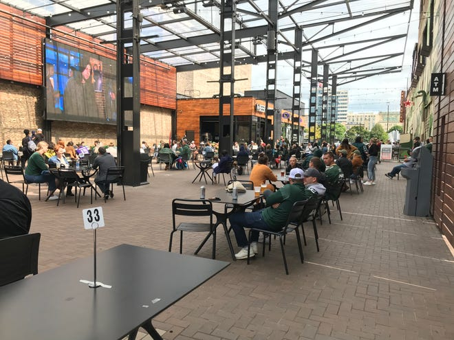 Green Bay Packers fans gather at The Beer Garden in the Deer District for the team's first game this season against the Minnesota Vikings.