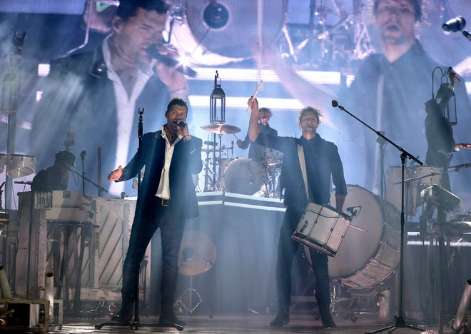 For King and Country band members Joel Smallbone and Luke Smallbone, a Christian pop duo, perform at Wisconsin State Fair Park on Saturday, Sept. 12, 2020, before a crowd of 500 cars in a drive-in concert.
