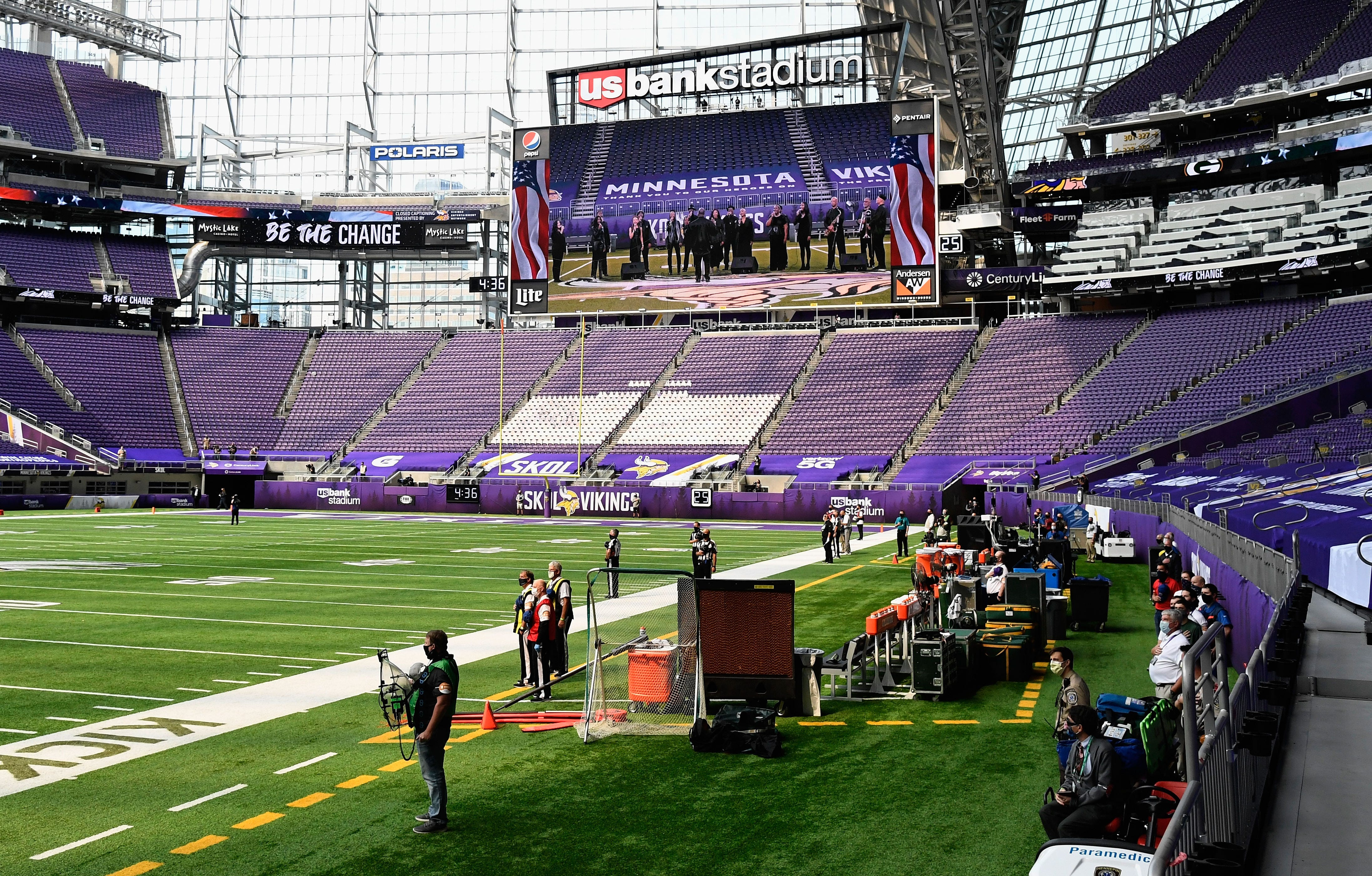 The Green Bay Packers bench is empty as the team remained in the locker room for the National Anthem as a gesture to bring attention to the fight for social justice before the game against the Minnesota Vikings at U.S. Bank Stadium on September 13, 2020, in Minneapolis.
