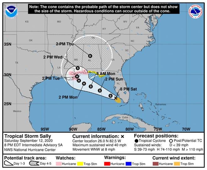 The 8 p.m. National Hurricane Center advisory for Tropical Storm Sally.