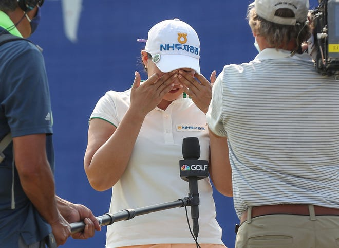 Mirim Lee reacts to winning the ANA Inspiration at Mission Hills Country Club in Rancho Mirage, September 13, 2020.