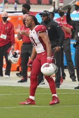 September 13, 2020; Santa Clara, California, USA; Arizona Cardinals wide receiver Larry Fitzgerald (11) celebrates during the fourth quarter against the San Francisco 49ers at Levi's Stadium. Mandatory Credit: Kyle Terada-USA TODAY Sports