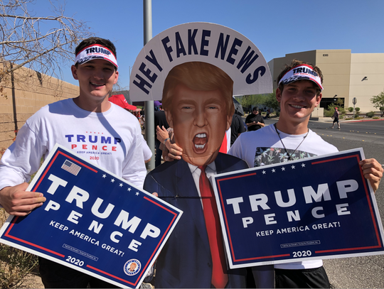 Kasen Kolhoss, 20, and Avery Stratton, 17, drove to Las Vegas from Moapa Valley, Nevada, to see Trump on Sept. 13, 2020.