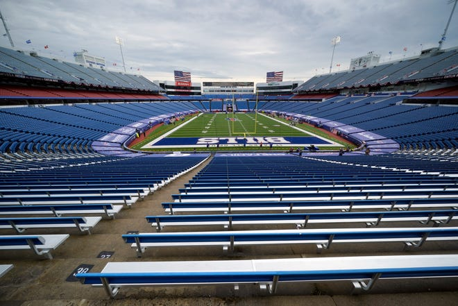 The National Anthem is played at New Era Stadium before an NFL football game between the Buffalo Bills and the New York Jets in Orchard Park, N.Y., Sunday, Sept. 13, 2020.