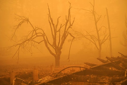 An eerie stillness hangs over the small community of Happy Camp in far Northern California on Sunday, Sept. 12, 2020 days after the Slater Fire roared through the area. The monster fire left the small town in ruins. It is blamed for two deaths and the destruction of more than 150 homes.