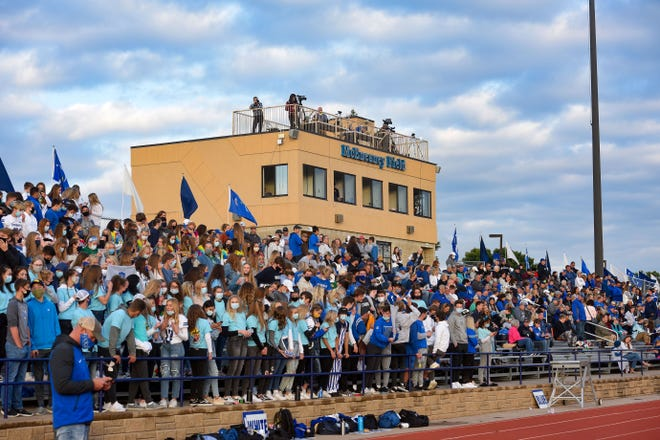 O'Gorman spectators fill the stands in the Dakota Bowl on Saturday, September 12, in Sioux Falls.