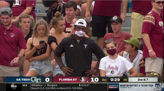A screen shot off television of Florida State fans attending Saturday's game at Doak Campbell Stadium.