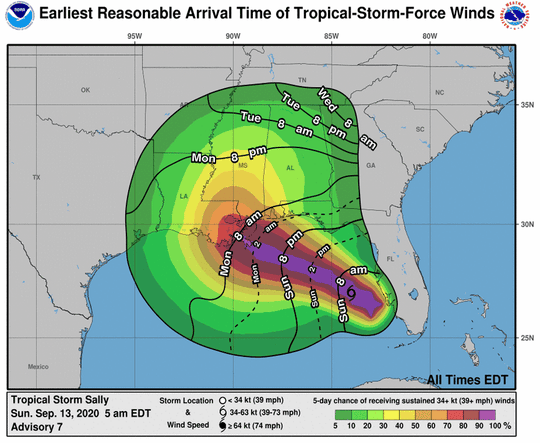 Areas along the northern Gulf Coast could begin to experience tropical storm-force winds early Monday, according to a graphic from the National Hurricane Center.