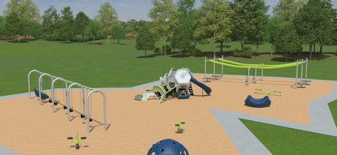 This is an artist's rendering of a new playground. The University Kiwanis Club of Wichita Falls plans to install an inclusive playground at the city-owned University Kiwanis Park on Southwest Parkway. The nonprofit organization seeks votes for the project in the Legacy of Play competition to help fund the playground.
