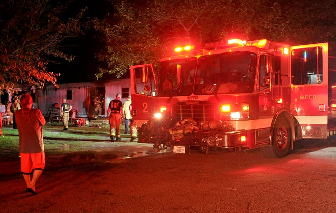 Wichita Falls firefighters worked to control a structure fire Saturday night at a trailer house located on Perigo Street.