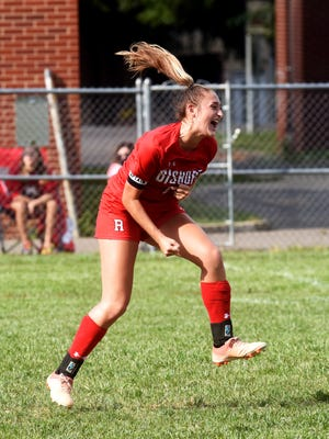 Rosecrans' Korynn Porter celebrates after kicking the game-winning goal against West Muskingum in a 2020 game at Mattingly Family Field. Porter signed with the University of Charleston (West Virginia) on Thursday.