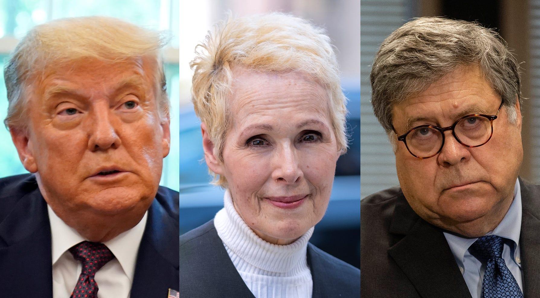President Donald Trump, E. Jean Carroll and Attorney General William Barr