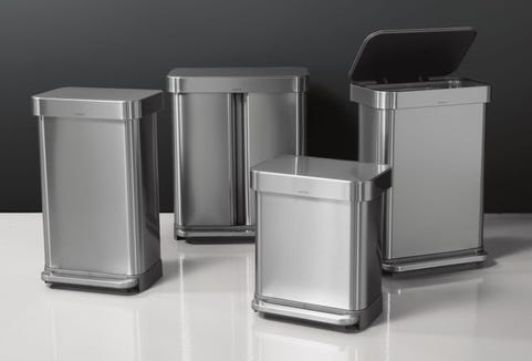 The exterior design of this simplehuman trash can is pretty darn impressive.