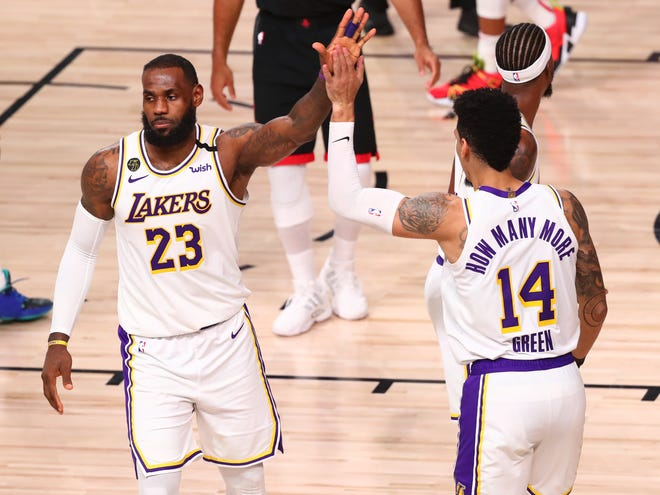 LeBron James and Danny Green have the Lakers in the Western Conference finals for the first time since 2010.