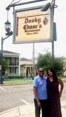 Alvin Hall and Janée Woods Weber at Dooky Chase's Restaurant in New Orleans.