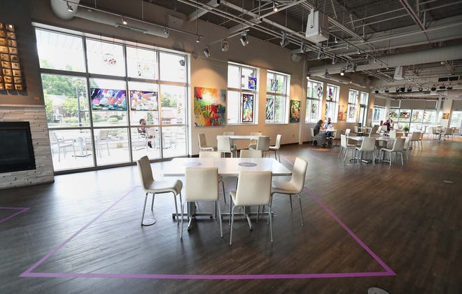 The Cafe at the Mustard Seed Market and Cafe at Highland Square is located on the top floor of the Mustard Seed building. [Karen Schiely/Beacon Journal]