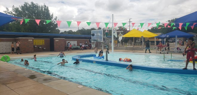 Children play a game of water basketball during the 2020 Recreation Celebration at the Ardmore Community Water Park. Almost 11,000 people visited the water park over the summer.