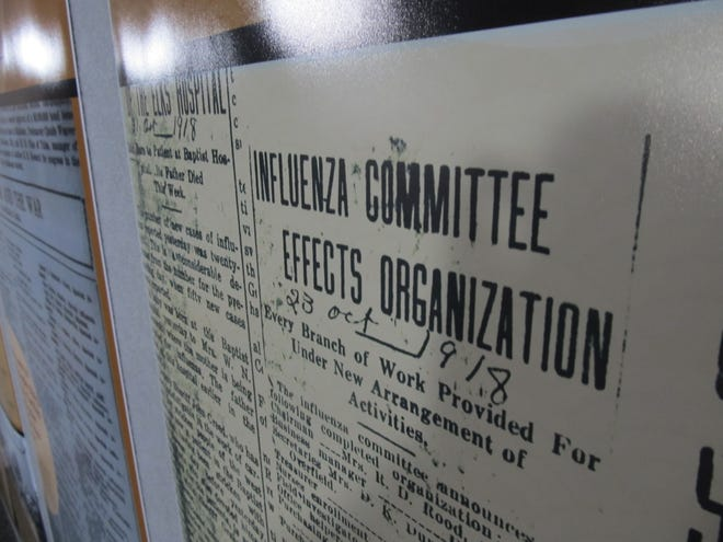 Influenza comittee sign on display at Bartlesville Area History Museum.