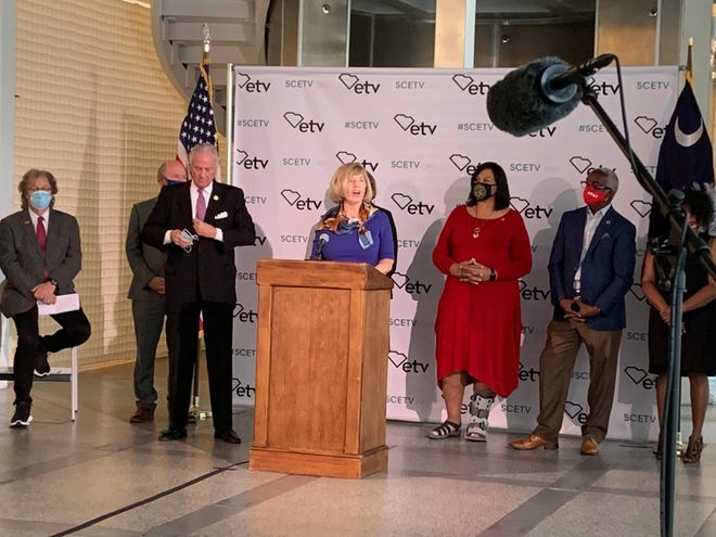 S.C. Superintendent Molly Spearman speaks Sept. 9 in Columbia about the new datacasting initiative in the state. Jasper County is one of three school districts that were chosen for the pilot program.
