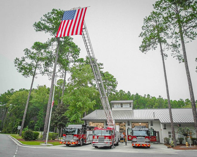 The Bluffton Township Fire District hosted a flag ceremony at its headquarters Friday in remembrance of the events of Sept. 11, 2001.