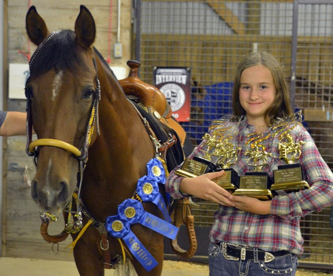 Cadance Horsky won Walk-Trot Barrels, Keyhole Race, Stakes Race and Pole Bending in Sunday's Junior Fair Horse Contest Classes at the Wayne County Fair.