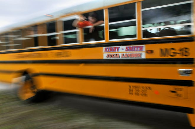 Duval County middle-school students travel by bus in this 2011 file photo.