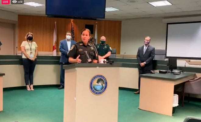 Sheriff Michelle Cook discusses the high number of positive COVID-19 tests among inmates at the Clay County Jail during a Monday news conference.
