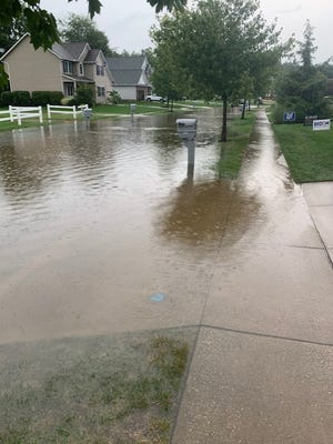 Pebblehurst Drive in Stow flooded on Labor Day.