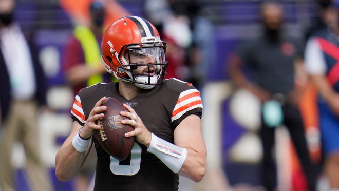 Cleveland Browns quarterback Baker Mayfield (6) looks to pass, during the first half of an NFL football game against the Baltimore Ravens, Sunday, Sept. 13, 2020, in Baltimore, MD. (AP Photo/Julio Cortez)