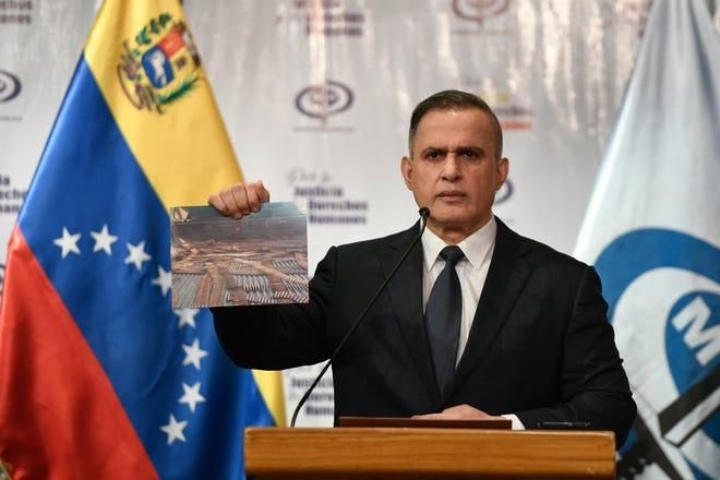 Venezuela's Attorney General Tarek William Saab discusses a failed attack aimed in May at overthrowing President Nicolas Maduro, during a news conference in Caracas, Venezuela.