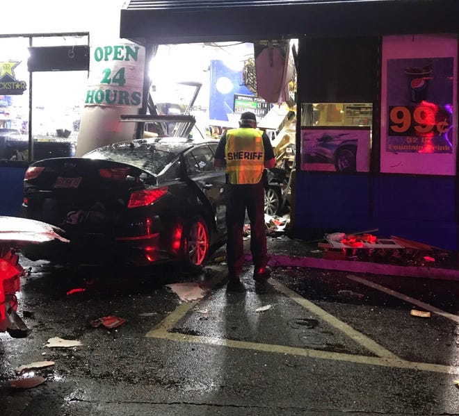 A driver lost control of his Kia Optima and crashed into the Marathon gas station located at 2600 Havendale Blvd. in Winter Haven early Sunday morning, striking a customer as he stood at the counter, according to the Polk County Sheriff's Office. The man, identified by authorities as 52-year-old William Clabough of Bartow, later died of his injuries.