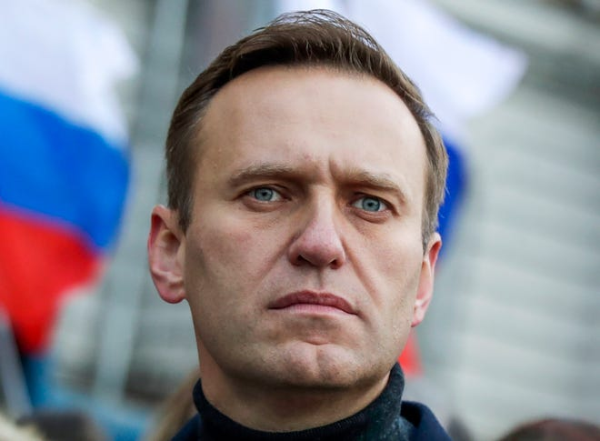 Russian opposition activist Alexei Navalny takes part in a February march in memory of opposition leader Boris Nemtsov in Moscow, Russia.